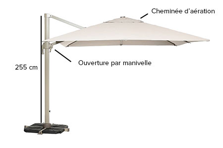 parasol d port hesp ride carr fresno 3 x 3 m coloris au choix. Black Bedroom Furniture Sets. Home Design Ideas