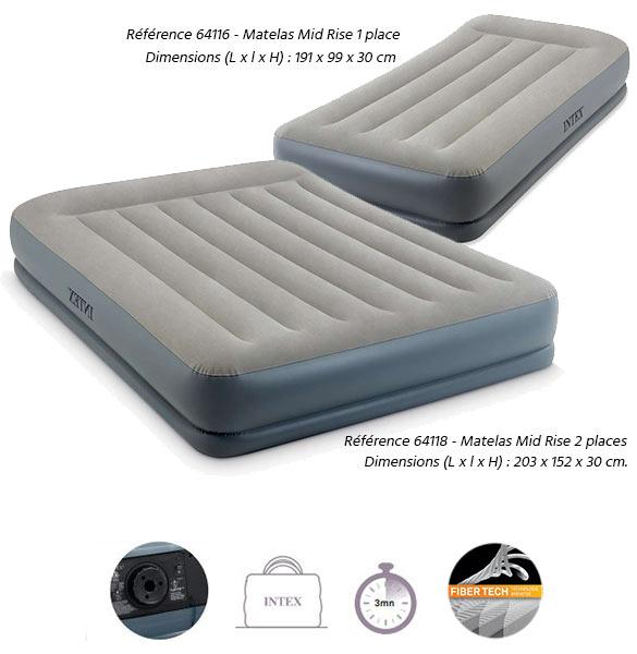 matelas gonflable intex mid rise avec fiber tech 1 ou 2 personnes. Black Bedroom Furniture Sets. Home Design Ideas