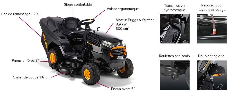 tracteur tondeuse mc culloch 107 cm 5000 m bac jardideco. Black Bedroom Furniture Sets. Home Design Ideas