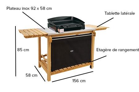 chariot plancha bois et inox eno. Black Bedroom Furniture Sets. Home Design Ideas