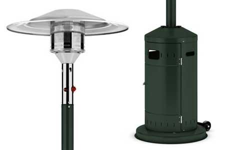 Parasol chauffant gaz classic vert ecoline favex jardideco for Chauffage gaz exterieur terrasse