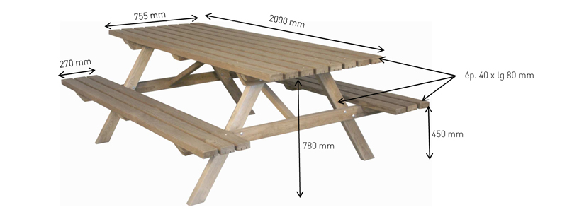 Table jardin pique nique 200 car interior design for Plan table de jardin en bois