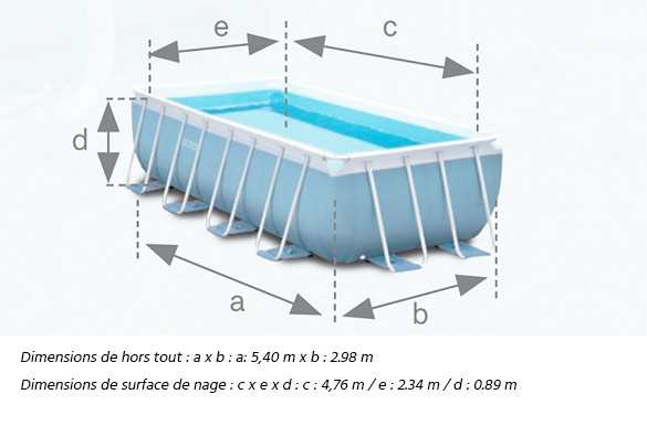 Piscine tubulaire rectangulaire intex 4 88 x 2 44 x 1 07 m for Piscine intex rectangulaire tubulaire