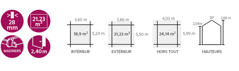 Garage en bois 28 mm 21 23 m - Autorisation de travaux abri de jardin ...