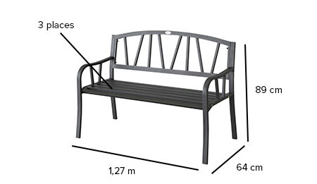 banc de jardin en m tal alvernia noir hesperide jardideco. Black Bedroom Furniture Sets. Home Design Ideas