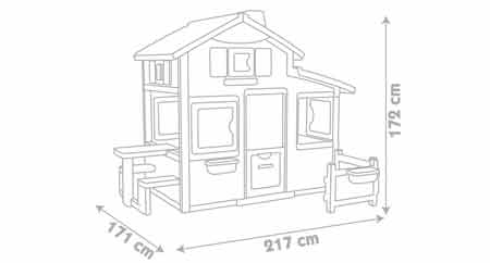 dimensions cabane enfant friends house smoby