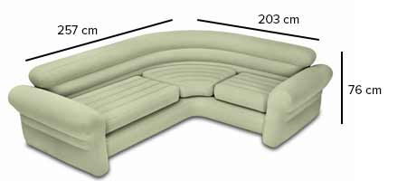 Canapé Sofa d\'angle beige gonflable Intex | Jardideco