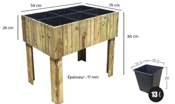 Carr potager sur lev mod le vertikal jardipolys for Carre de jardin en bois