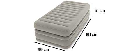 matelas gonflable intex prime confort 1 place avec fiber tech. Black Bedroom Furniture Sets. Home Design Ideas