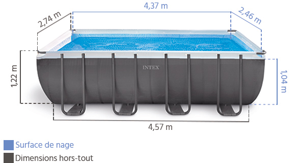 piscine tubulaire rectangulaire intex 4 57x2 74x1 22 m. Black Bedroom Furniture Sets. Home Design Ideas