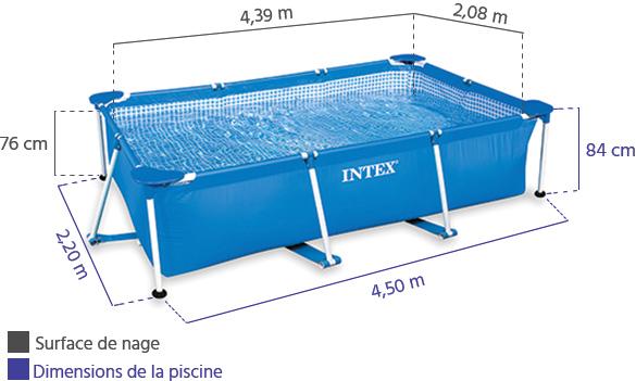piscine tubulaire rectangulaire intex 4 50 x 2 20 x0 84 m. Black Bedroom Furniture Sets. Home Design Ideas