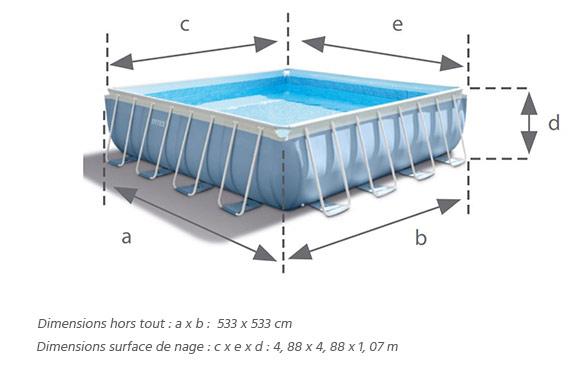 Piscine tubulaire prism frame carr e 4 88 x 4 88 x 1 22 m for Liner piscine tubulaire intex 4 88