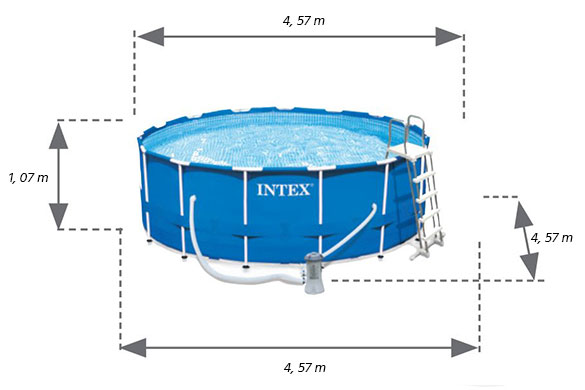 Piscine tubulaire ronde intex metal frame 4 57 m h 1 22 for Piscine intex 4 57 x 1 22