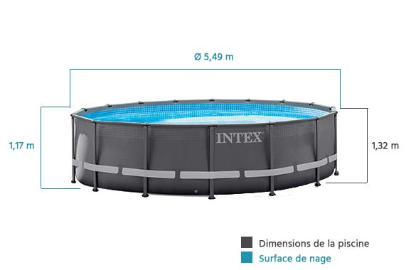 Piscine tubulaire intex ronde filtration eau 5 49 m for Piscine tubulaire grise