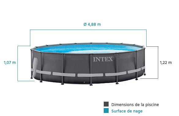 dimensions piscine tubulaire ronde ultra frame intex