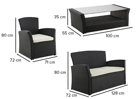 salon jardin r sine tress e noir borabora hesp ride. Black Bedroom Furniture Sets. Home Design Ideas
