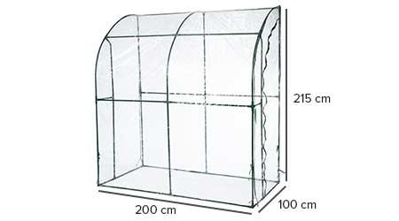 Serre de jardin souple adoss e 200 x 100 x 215 cm 2 m - Serre souple de jardin ...