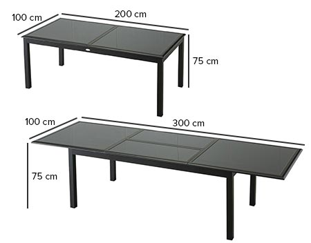 Table de jardin hesp ride extensible azua 8 12 places for Table 8 personnes dimension