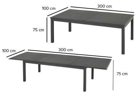Table extensible Hesperide rectangulaire Azua 8 à 12 places