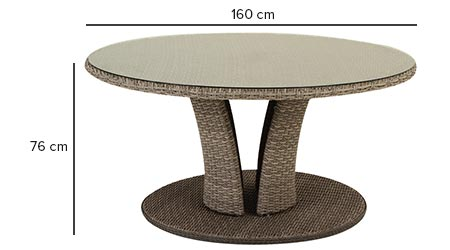 Table de jardin hesp ride r sine ronde tress e libertad taupe - Dimension table ronde ...