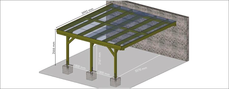 carport adossant en bois 2 voitures jardipolys 30 6m. Black Bedroom Furniture Sets. Home Design Ideas