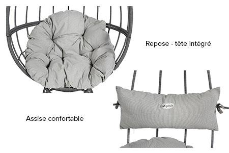 fauteuil suspendu hesp ride oeuf pivotant hanoi couleur. Black Bedroom Furniture Sets. Home Design Ideas