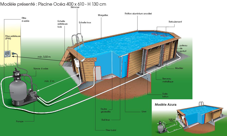 piscine bois ubbink azura 4 5 x 2 5 m liner bleu kit complet. Black Bedroom Furniture Sets. Home Design Ideas
