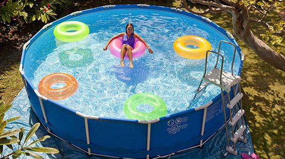 Tapis de sol pour piscine ronde intex jardideco - Tapis de sol piscine intex ...