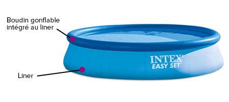 Liner seul piscine autoport e 4 57 x 1 07 m intex jardideco - Reparation boudin piscine autoportee ...