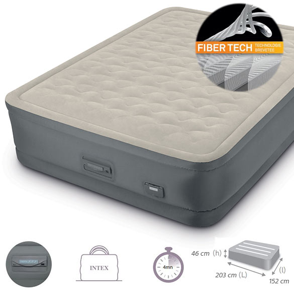 matelas gonflable intex prem 39 aire fiber tech 1 ou 2. Black Bedroom Furniture Sets. Home Design Ideas
