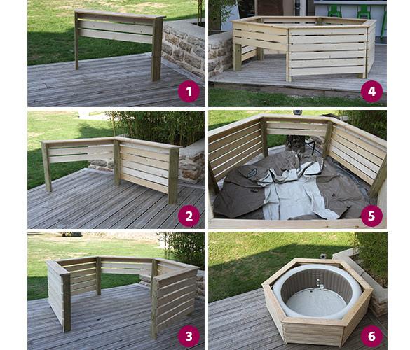 kit spa intex 4 places rond bulles et son entourage en bois. Black Bedroom Furniture Sets. Home Design Ideas