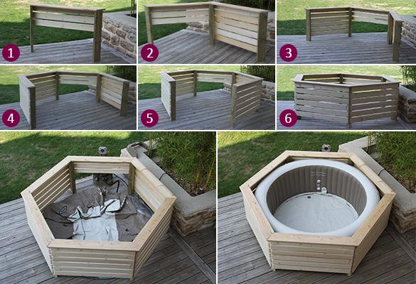 entourage habillage bois pour spa gonflable intex made. Black Bedroom Furniture Sets. Home Design Ideas