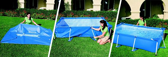Piscine tubulaire rectangulaire 4 50 x 2 20 x 0 84 m intex for Montage piscine intex rectangulaire