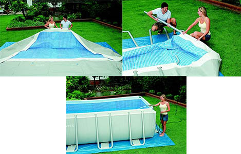 Piscine tubulaire rectangulaire intex 5 49 m filtre et for Montage piscine intex
