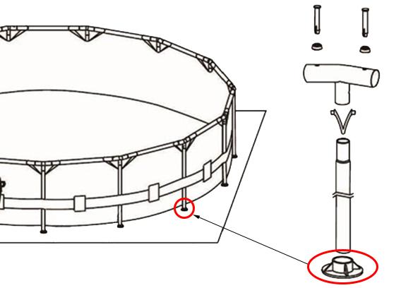 4 sabots pour armature de piscine intex tubulaire ronde et. Black Bedroom Furniture Sets. Home Design Ideas