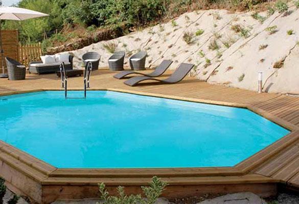 Piscine bois sunbay safran 6 37 x 4 12 x 1 33 m filtration for Piscine sunbay