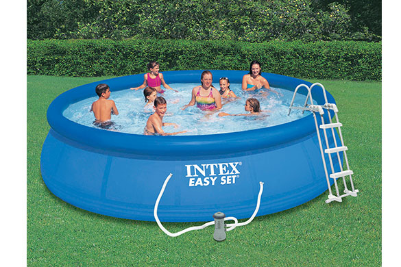 Piscine autoport e intex 4 57 m x h 1 07 m filtration for Piscine gonflable intex ronde