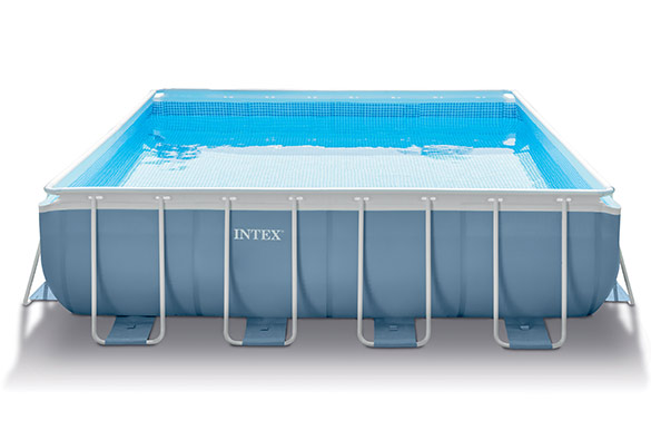 Piscine tubulaire carr e intex 4 88 x 4 88 m h 1 22 m for Piscine carree intex