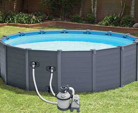 Piscine graphite intex grise x piscine tubulaire for Piscine intex graphite