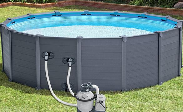 piscine graphite intex grise x piscine tubulaire. Black Bedroom Furniture Sets. Home Design Ideas