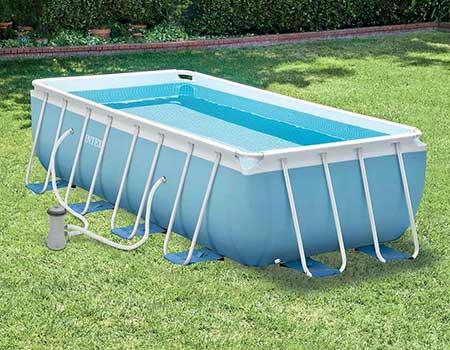 Piscine tubulaire rectangulaire intex 4 88 x 2 44 x 1 07 m filtration - Echelle piscine hors sol occasion ...