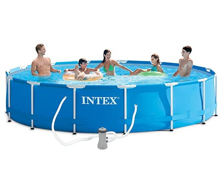 piscine tubulaire intex metal frame ronde 4 57 x 0 84 m. Black Bedroom Furniture Sets. Home Design Ideas