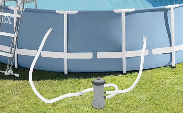 piscine tubulaire ronde intex 4 57 m x 1 07 m filtration. Black Bedroom Furniture Sets. Home Design Ideas
