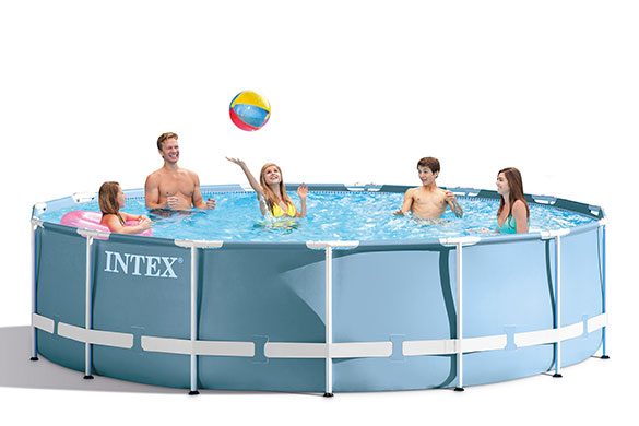 Piscine tubulaire prism frame ronde 4 57 x 1 22 m intex for Piscine intex 4 57 x 1 22