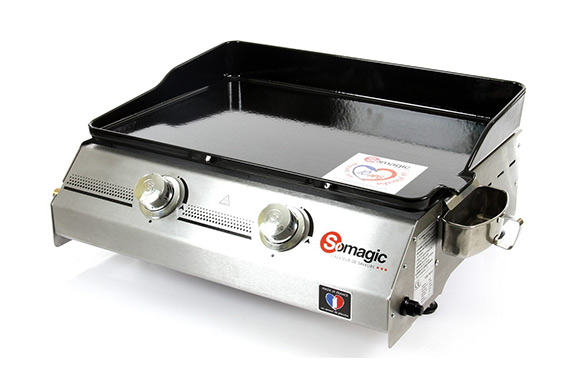 plancha a gaz 2 bruleurs made in france 60 x 51 cm 7kw
