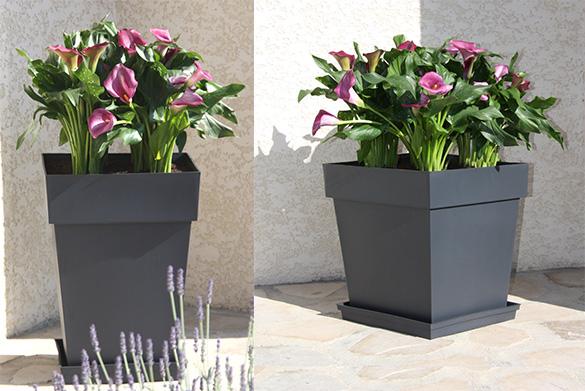 pot de fleur plastique carr toscane eda jardideco. Black Bedroom Furniture Sets. Home Design Ideas