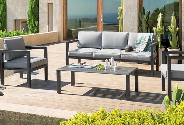 salon de jardin m tal 5 places mod le azua couleur. Black Bedroom Furniture Sets. Home Design Ideas