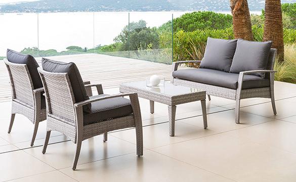 salon de jardin resine tressee hesperide cilaos couleur au choix. Black Bedroom Furniture Sets. Home Design Ideas