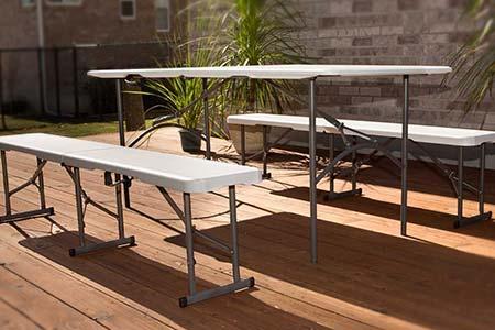 table r sine pliante 2 bancs pliants jardideco. Black Bedroom Furniture Sets. Home Design Ideas