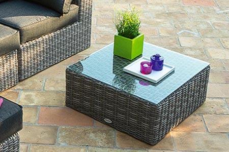 Table basse carrée salon jardin résine Libertad Hesperide | Jardideco